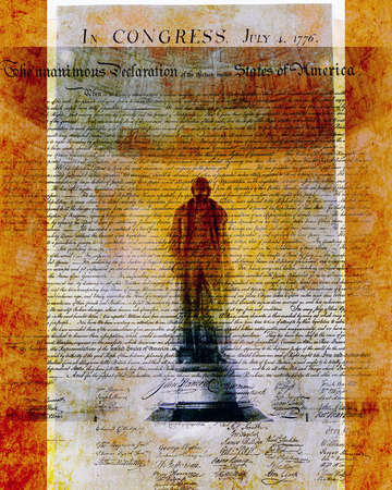 Declaration of Independence with Silhouette of Jefferson
