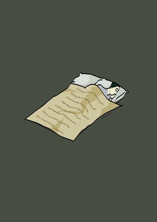 Document covering sleeping man