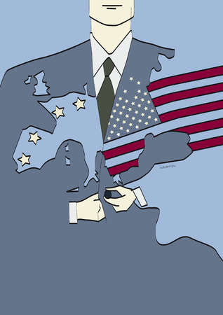 American flag and map of Europe over businessman