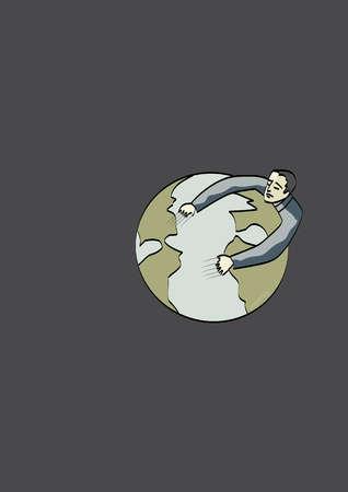 Man clinging to globe