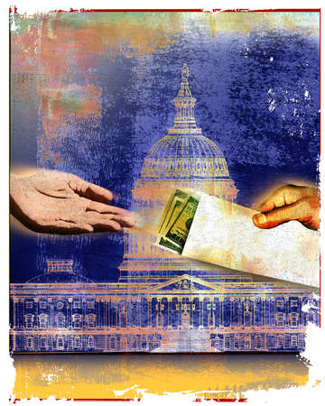 Hand taking money in envelope in front of U.S. Capitol Building