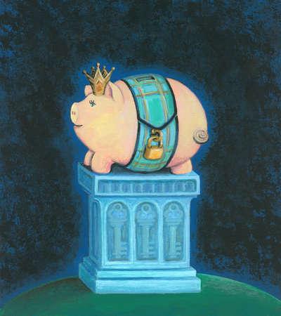 Piggy Bank as King on a Pedestal