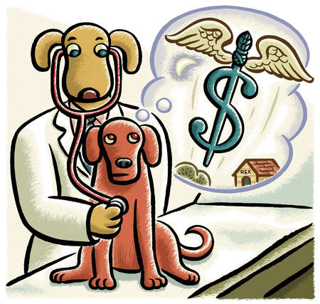 Caduceus with wings in thought bubble over dog being examined by dog veterinarian