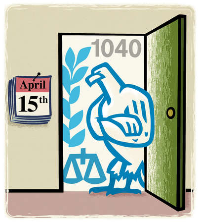 IRS eagle standing in doorway next to calendar revealing April 15