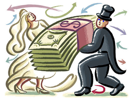 Bride and groom lifting heavy pile of money