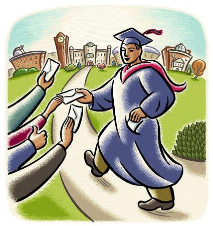 Hands giving graduate envelopes