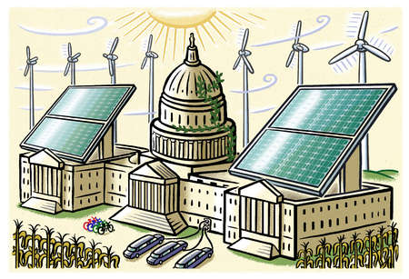Solar panels, wind turbines, electric cars, bicycles and corn surrounding U.S. Capitol building