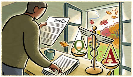 Man reading 'Benefits' document next to caduceus scale