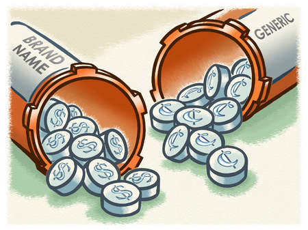 Dollar signs and cent symbols on brand name and generic pills