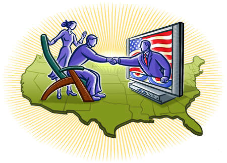 Politician in television screen reaching for man in armchair on map of United States