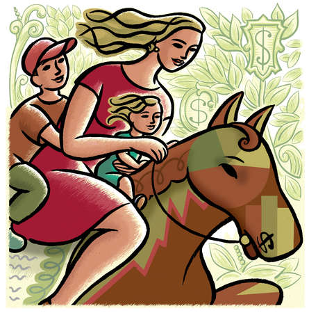 Mother and children riding horse surrounded by dollar signs