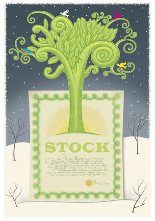 Tree growing from stock certificate