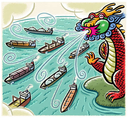 Dragon blowing wind over freighters on ocean