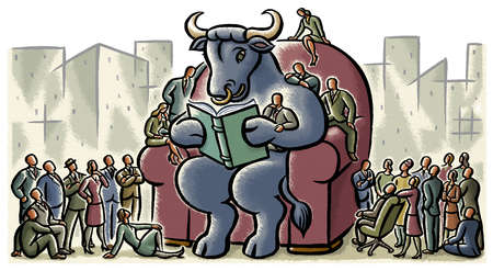 Business people surrounding large bull reading book in armchair