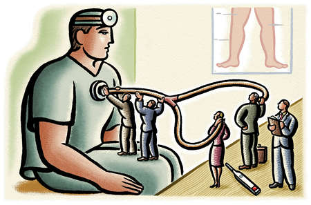 Business people examining doctor with stethoscope