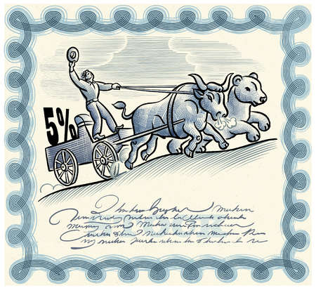 Man riding cart pulled by bear and bull on stock certificate