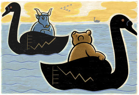 Bear and bull riding swans covered with charts