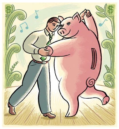 Businessman dancing with piggy bank
