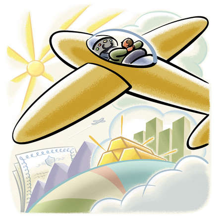 Man flying airplane over gold bars and stock certificates