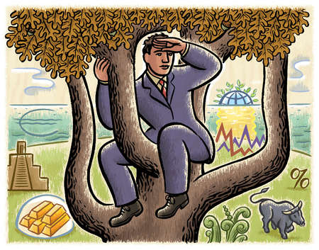 Businessman in tree viewing financial symbols below