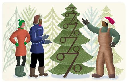 People looking at percent symbols on Christmas tree