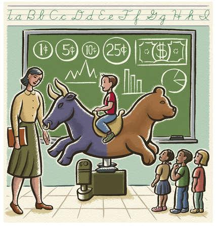 Teacher watching child ride two-headed bull bear in classroom