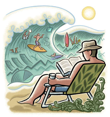 Man reading book on beach and people surfing in ocean with finance symbols