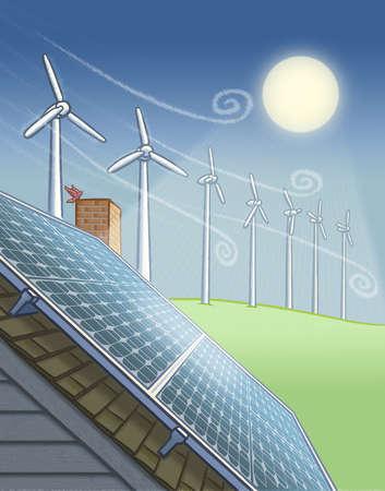 Sun over wind farm and solar panels