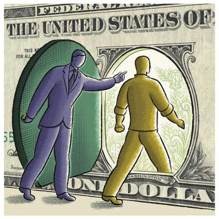 Businessman guiding man through dollar