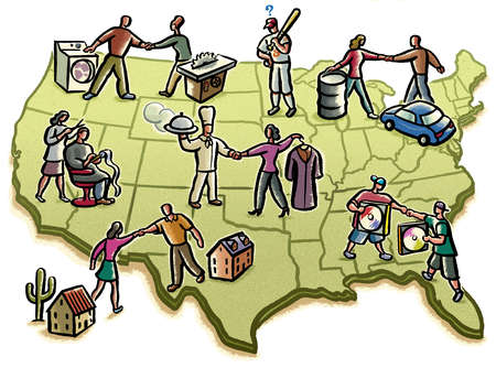 People and lifestyle images over map of United States