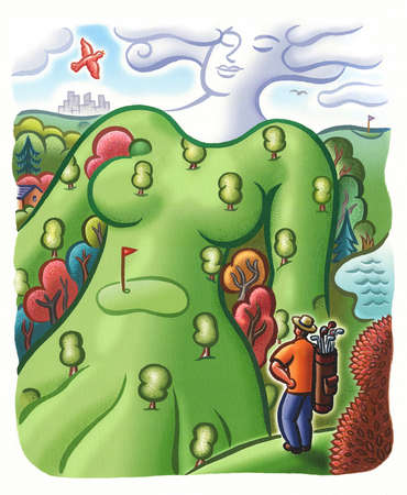 Man looking at woman-shaped golf course