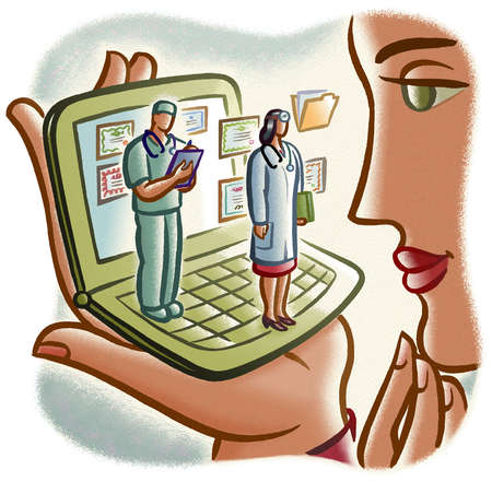 Woman viewing doctors on cell phone