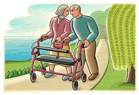 Senior couple sharing walker on path