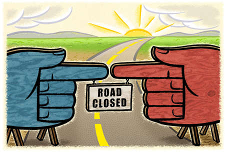'Road Closed' hanging from connected red and blue fingers