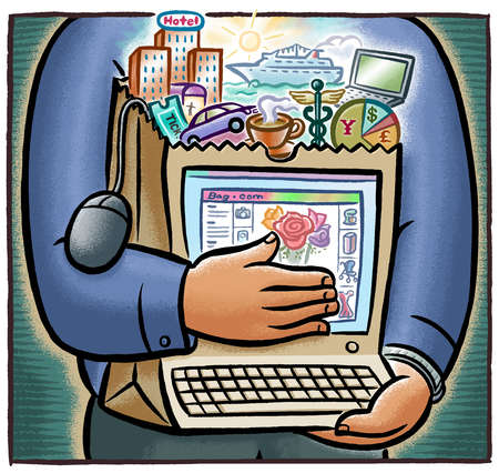 Man hugging shopping bag with computer and lifestyle images