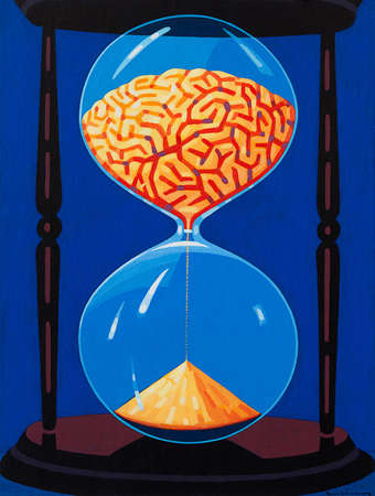Brain Going Through Hourglass