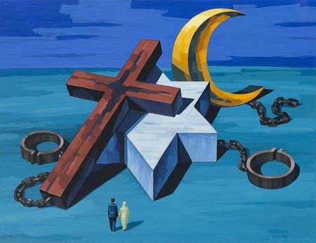 Religious Symbols, Cross, Star of David, Crescent and Star