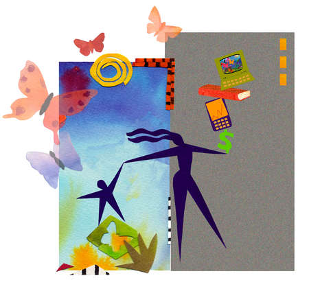 Butterflies and technology surrounding woman and child