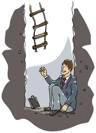 Ladder dropping to businessman underground