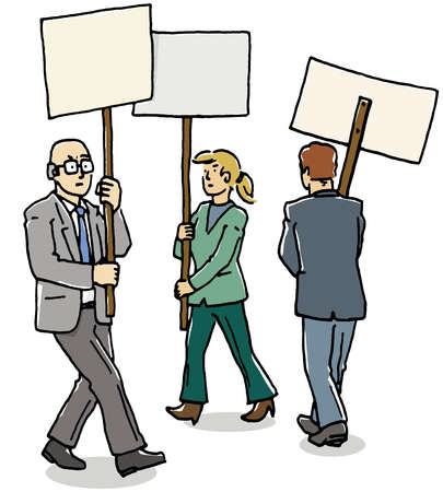 Business people with protest signs