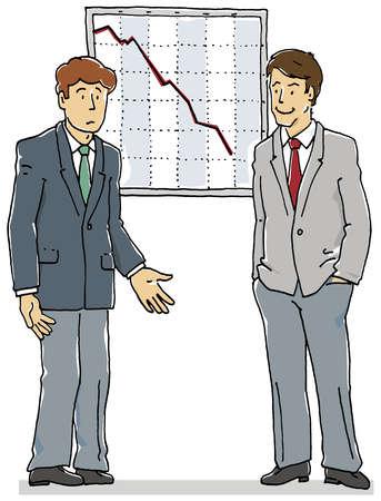 Businessman talking near graph