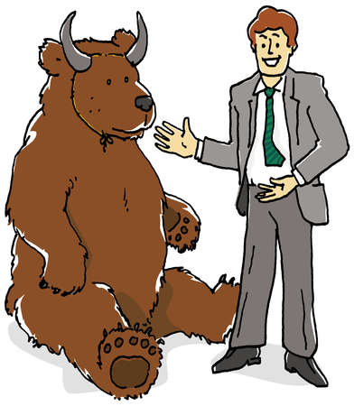 Businessman posing next to bear with bull mask
