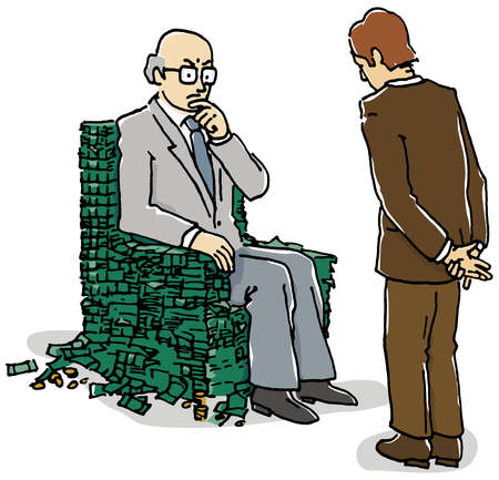 Aging businessman sitting in money armchair