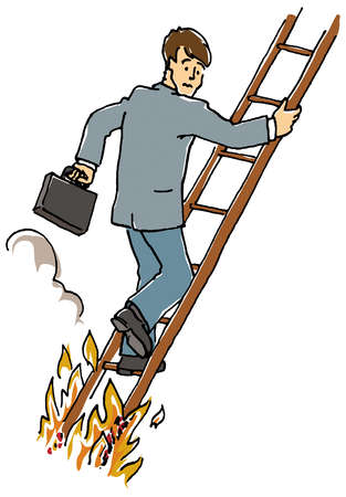 Fire under man climbing ladder