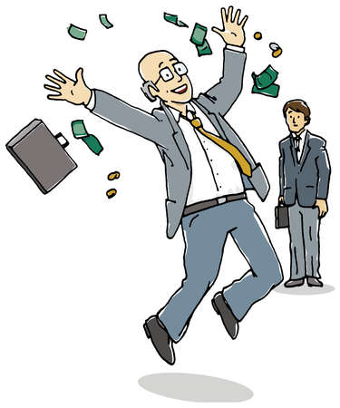 Money falling around happy businessman