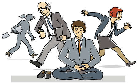 Zen-like businessman surrounded by busy business people