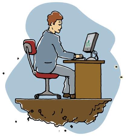 Ground crumbling under businessman working at desk