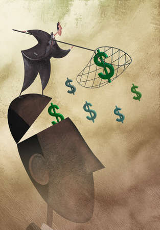 Businessman catching dollar signs in net on large head