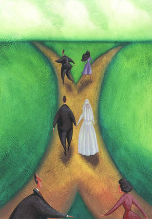 Couples approaching fork in road