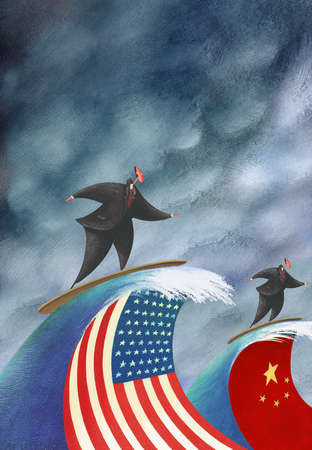 Businessmen riding waves with American and Chinese flags